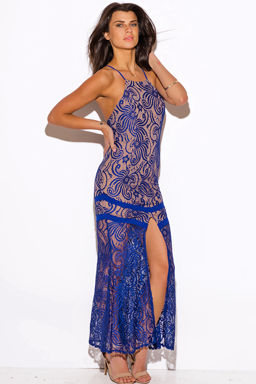 Cute cheap royal blue baroque lace high slit backless formal evening cocktail party maxi dress