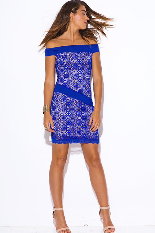 Cute cheap royal blue baroque lace off shoulder fitted cocktail party club mini dress