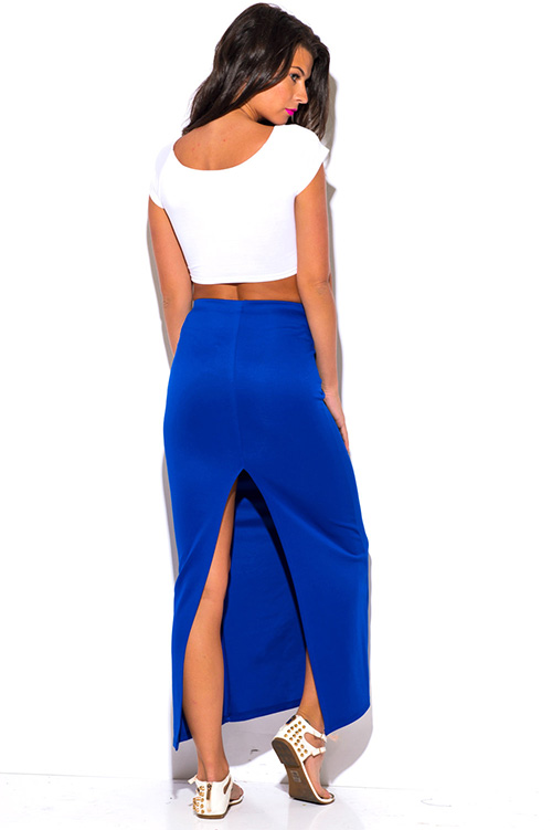 shop royal blue bodycon high waisted slit fitted pencil