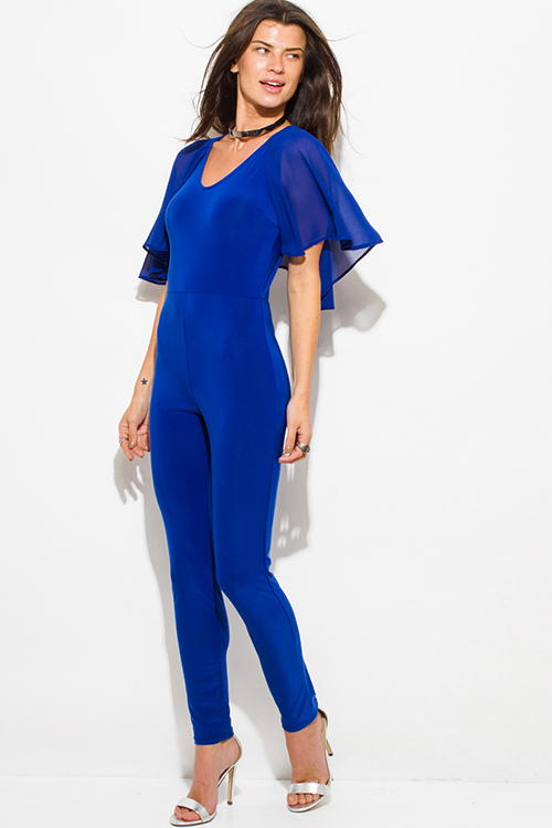 Cute cheap royal blue butterfly flutter ruffle sleeve v neck cape keyhole back tie bodycon fitted clubbing catsuit jumpsuit