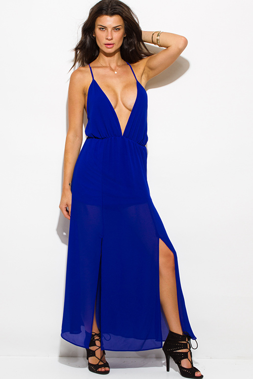 Cute cheap royal blue chiffon deep v neck double high slit criss cross backless evening party maxi dress