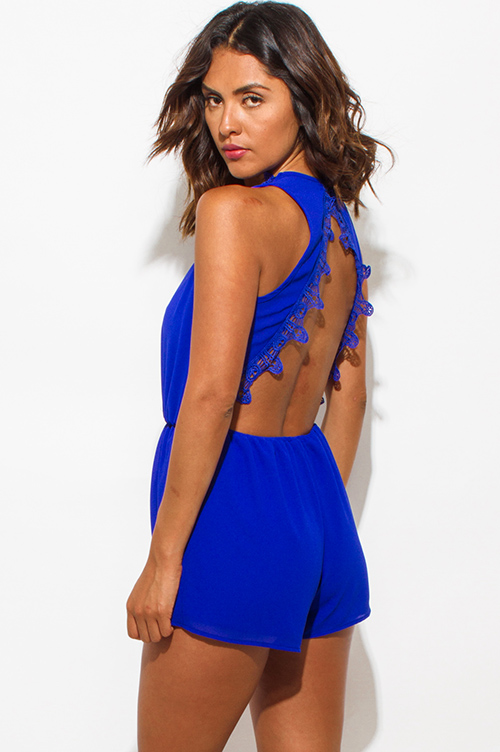 Cute cheap royal blue chiffon deep v neck halter crochet trim open back romper jumpsuit