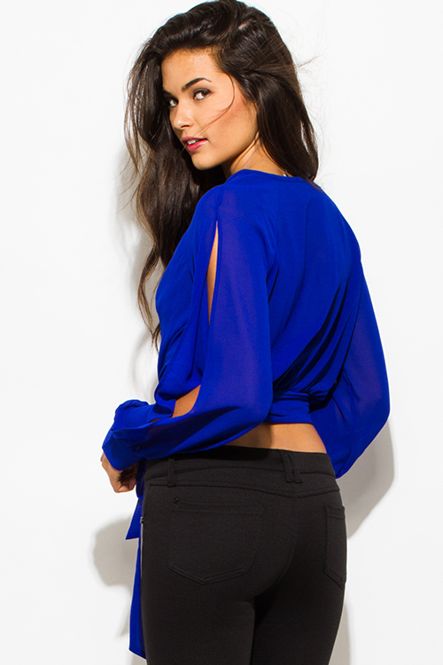 Cute cheap royal blue chiffon slit blouson sleeve wrap front crop blouse top