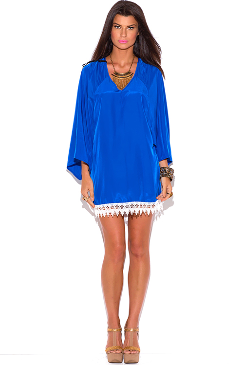 Cute cheap royal blue cut out back crochet trim kimono sleeve backless boho tunic mini dress