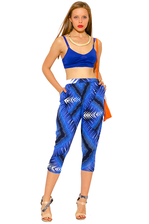 Cute cheap royal blue ethnic print pocketed tapered jersey capri harem parachute lounge pants