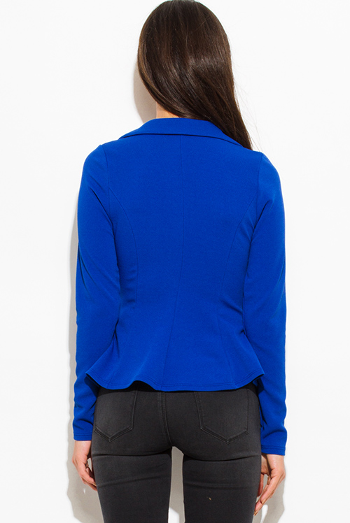 Cute cheap royal blue golden button long sleeve fitted peplum blazer jacket top