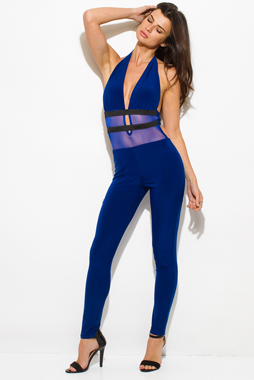 Cute cheap royal blue halter deep v neck banded mesh contrast backless bodycon fitted clubbing catsuit jumpsuit