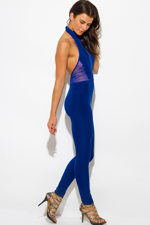 Cute cheap royal blue halter high neck backless mesh panel fitted bodycon clubbing catsuit jumpsuit