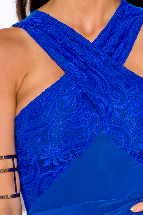 Cute cheap royal blue lace criss cross ruched bodycon fitted club mini dress