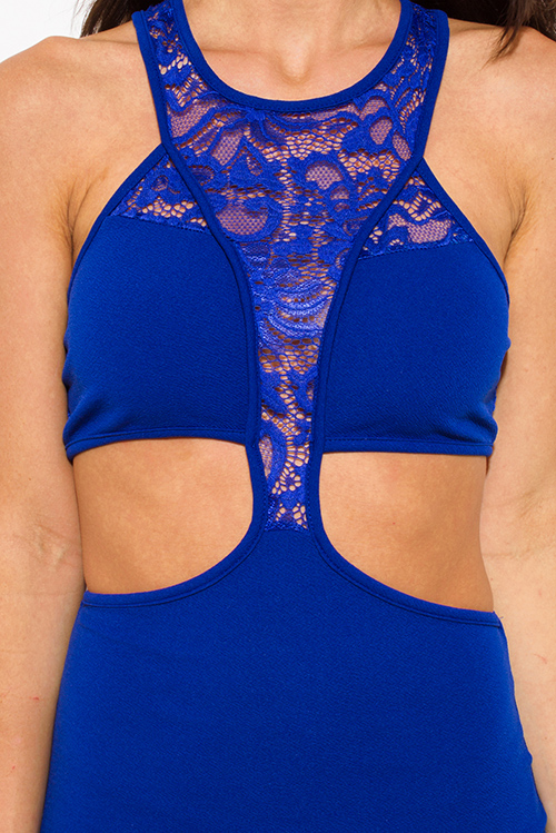 Cute cheap royal blue lace panel contrast halter neck racer back cut out bodycon fitted club mini dress