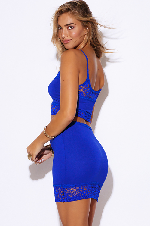 Cute cheap royal blue lace trim fitted bodycon clubbing two piece set dress