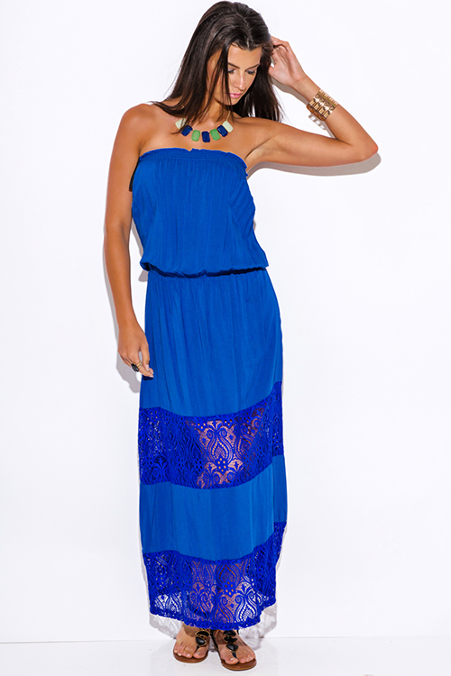 Cute cheap royal blue lace trim strapless drop waist summer boho maxi sun dress