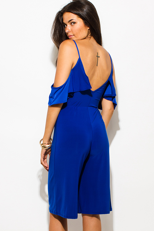 Cute cheap royal blue off shoulder bustier v neck flutter sleeve wide leg evening party playsuit jumpsuit