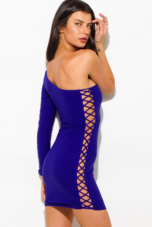 Cute cheap royal blue one shoulder strappy caged cut out bodycon fitted club mini dress