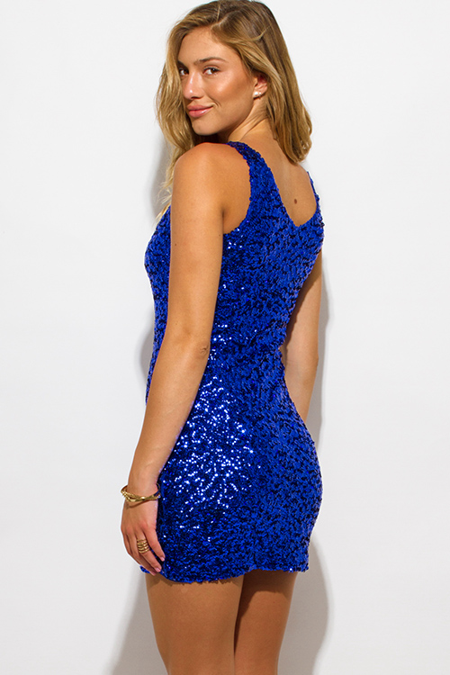 Cute cheap royal blue sequined v neck cocktail party shift club mini dress