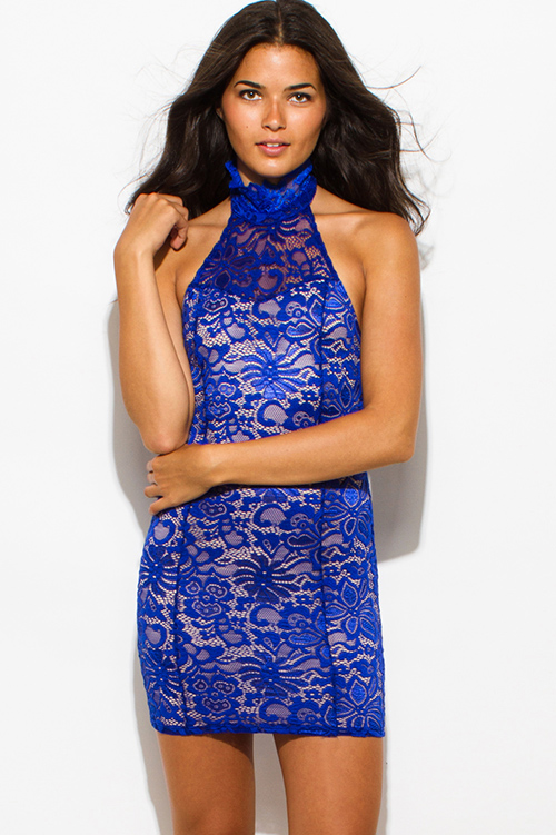 Shop royal blue sheer lace overlay high halter neck backless ...
