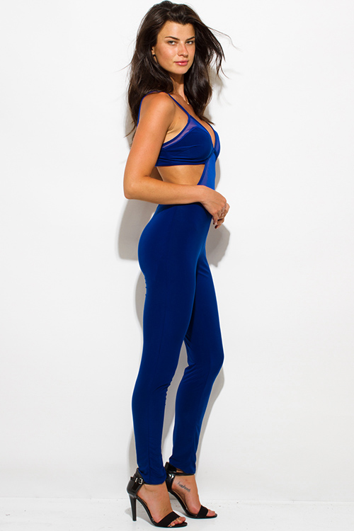 Cute cheap royal blue sheer mesh contrast bustier open back spaghetti strap bodycon fitted clubbing catsuit jumpsuit