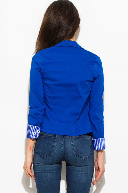 Cute cheap royal blue single button fitted pinstripe cuffed suiting blazer jacket top