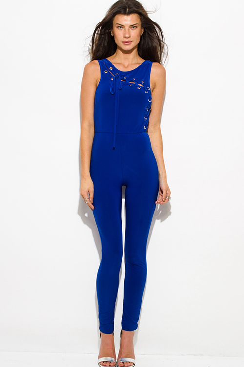Cute cheap royal blue sleeveless laceup eyelet trim open back bodycon clubbing fitted catsuit jumpsuit