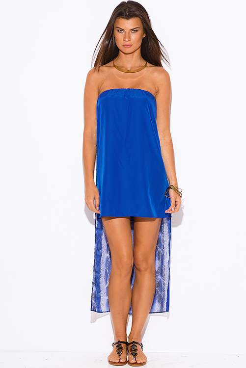 Cute cheap royal blue snake animal print chiffon cape high low strapless club mini sun dress