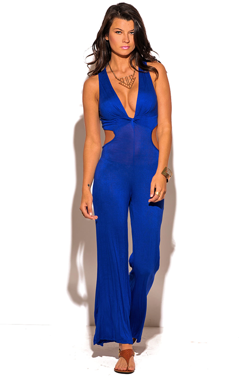 Cute cheap royal blue twist front cut out back wide leg party jumpsuit