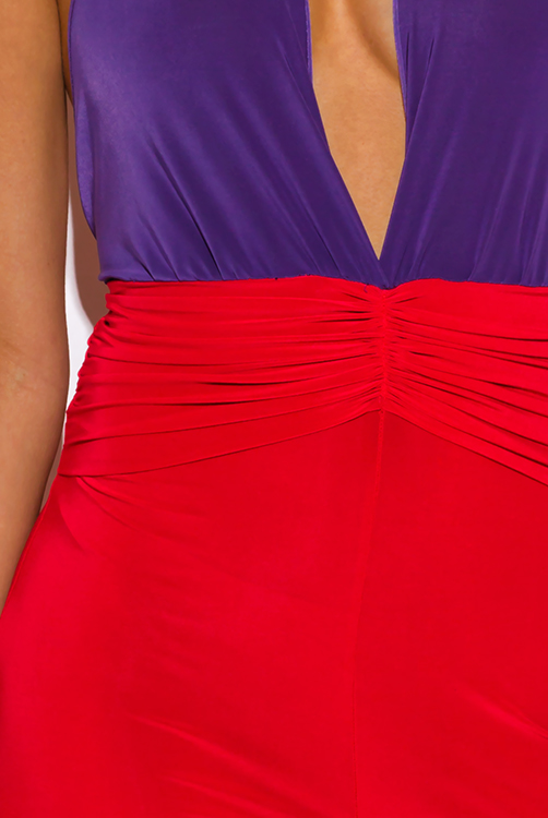 Cute cheap purple and red color block deep v neck ruched draped wide leg party jumpsuit