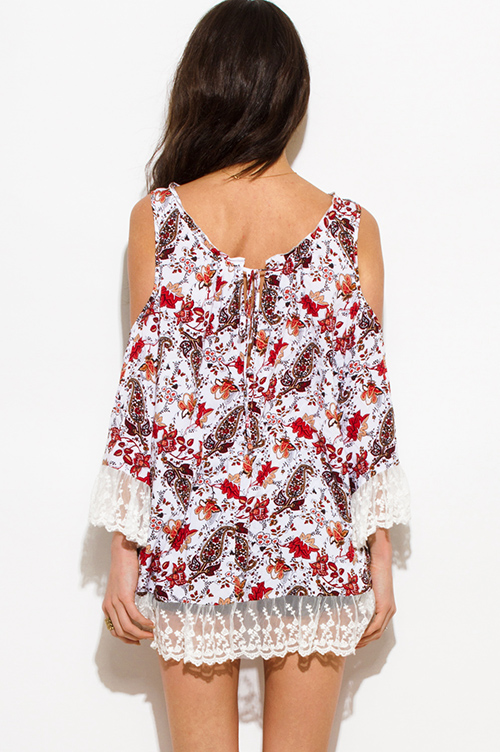 Cute cheap rust orange floral print cold shoulder bell sleeve lace trim boho blouse top