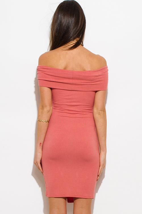 Cute cheap salmon pink off shoulder side slit bodycon fitted club midi dress