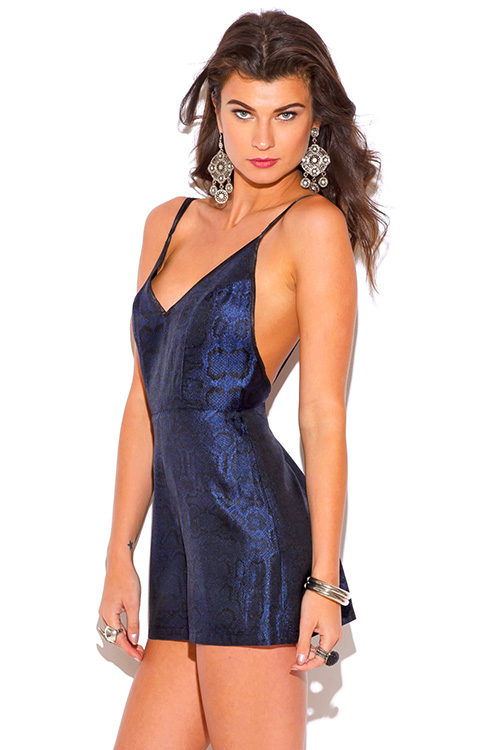 Cute cheap sapphire navy blue snake animal print backless party romper jumpsuit