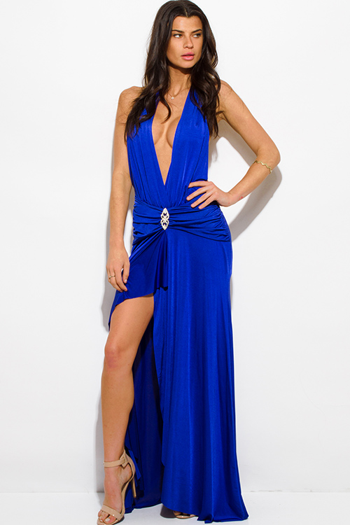 Shop royal blue halter deep v neck front slit backless formal gown ...