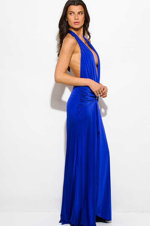 Cute cheap royal blue halter deep v neck front slit backless formal gown evening party dress