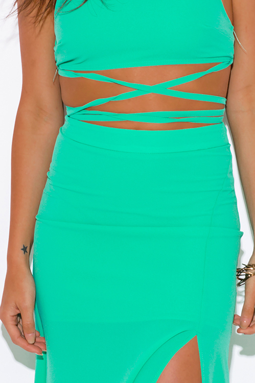 Cute cheap mint green high slit crepe evening cocktail party maxi two piece set dress