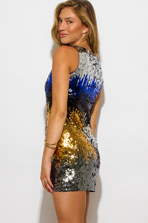 Cute cheap silver gold blue sequined cocktail party club mini dress