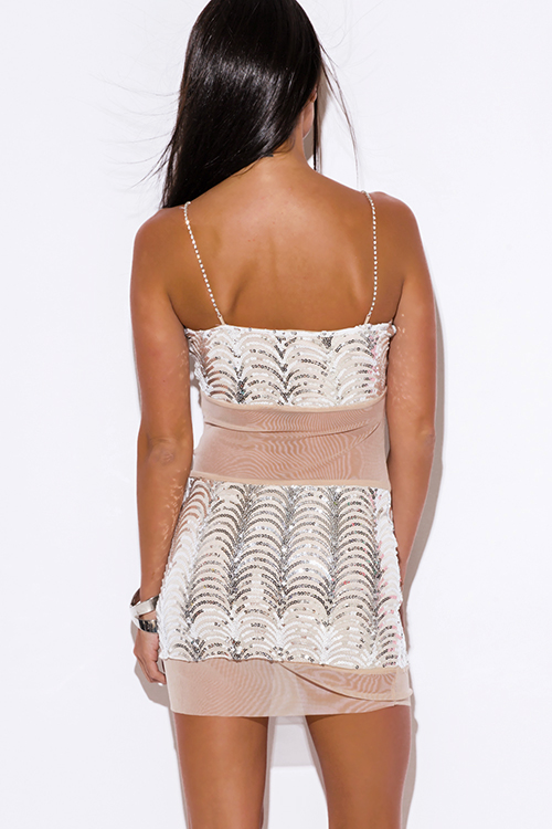 Cute cheap silver sequined nude beige mesh rhinestone bejeweled fitted cocktail party club mini dress