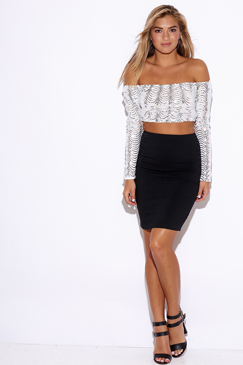 Cute cheap silver sequined white off shoulder long sleeve party crop top