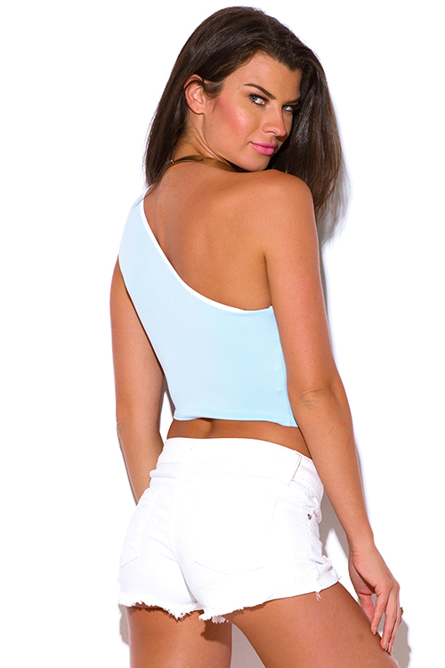 Cute cheap sky blue one shoulder fitted party crop top