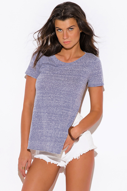 Shop slate gray asymetrical cut out backless short sleeve for Beach shirt cover up