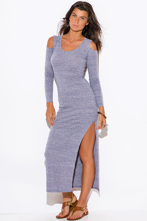 Cute cheap slate gray jersey cut out cold shoulder long sleeve backless high slit ankle maxi dress