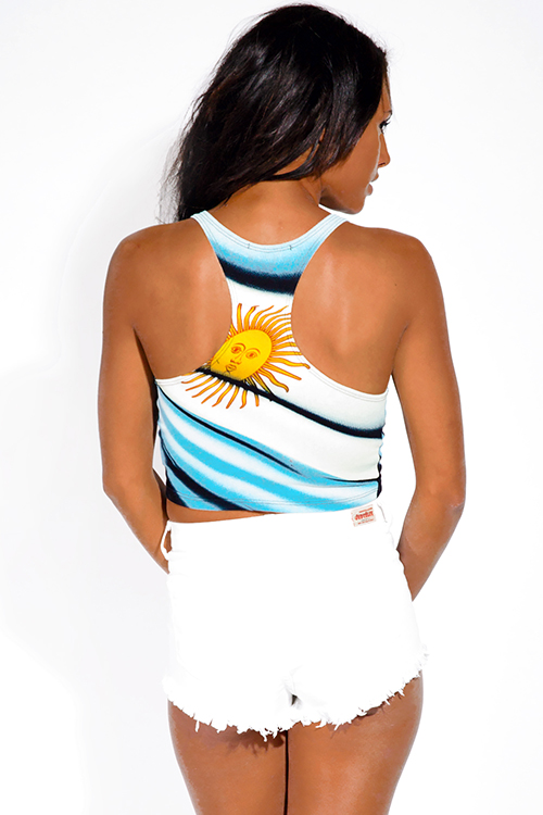 Cute cheap argentina flag sun graphic print sporty crop tank top