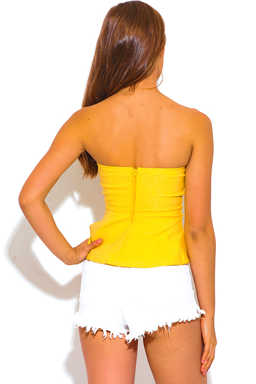 Cute cheap yellow stripe bow tie cut out strapless peplum party top