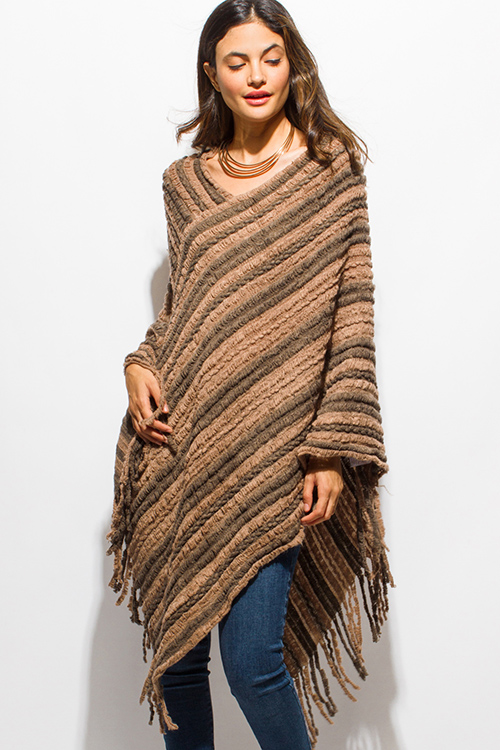 Shop tan brown fuzzy knit striped asymmetrical hem boho sweater ...
