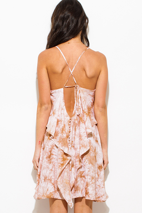 Cute cheap taupe beige tie dye cut out cross back tiered boho mini sun dress