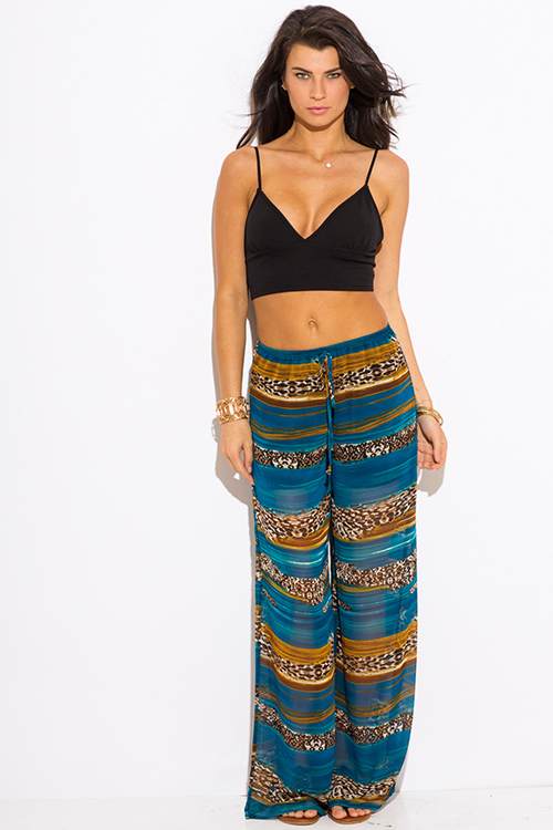 Cute cheap teal blue abstract animal print chiffon boho resort wide leg pants