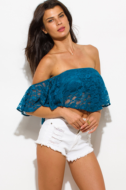 Cute cheap teal blue lace ruffle strapless off shoulder boho party crop top