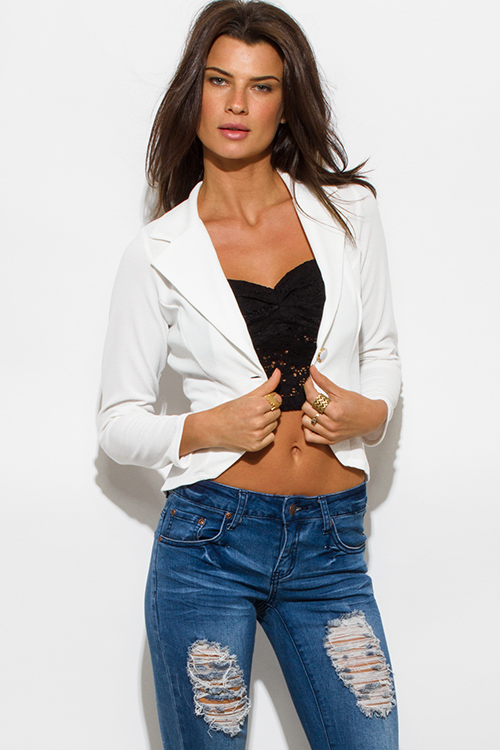Cute cheap textured white single button fitted blazer jacket top