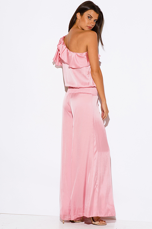 Cute cheap pink one shoulder ruffle rosette wide leg formal evening party jumpsuit