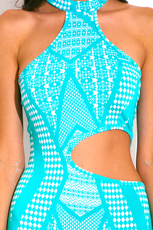 Cute cheap turquoise blue print mock high neck cut out fitted clubbing mini dress