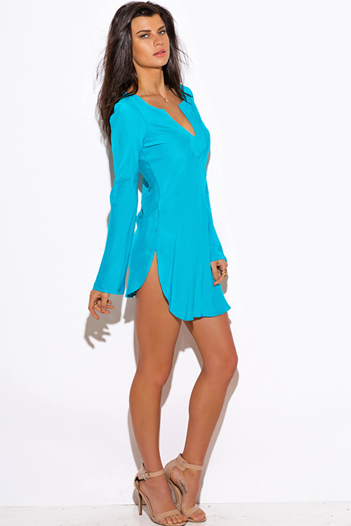 Cute cheap turquoise blue Indian collar boho beach cover up tunic top mini dress