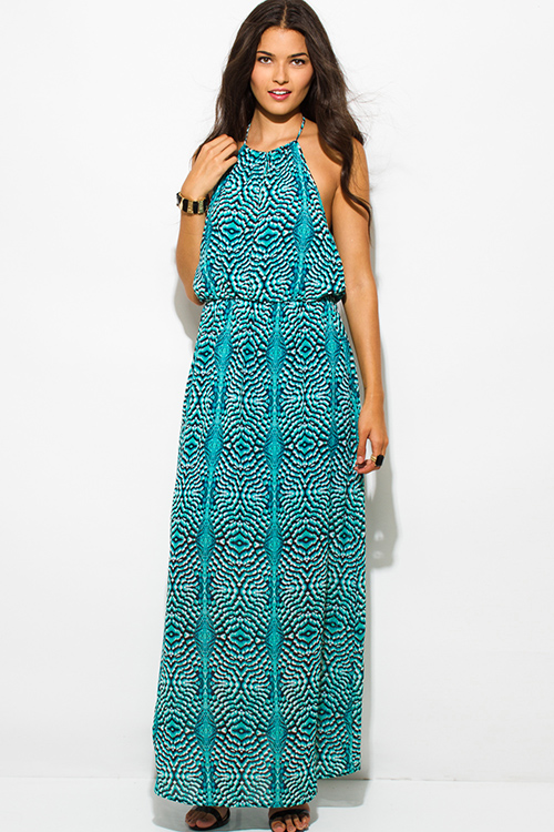Cute cheap turquoise blue peacock print chiffon keyhole halter neck backless evening maxi sun dress