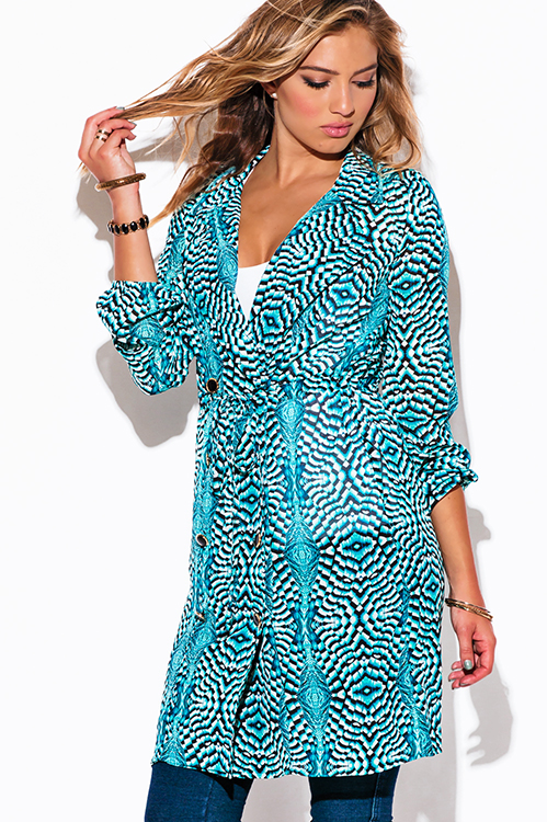 Cute cheap turquoise blue peacock print chiffon blouson sleeve semi sheer double breasted trench coat dress
